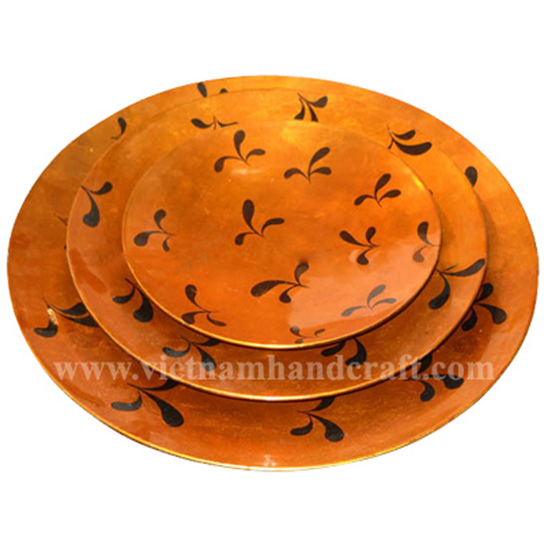 Orange silver lacquered decorative plate with hand-painted black motifs