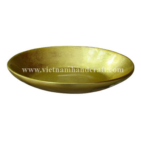Bread lacquer bowl in gold silver leaf all over