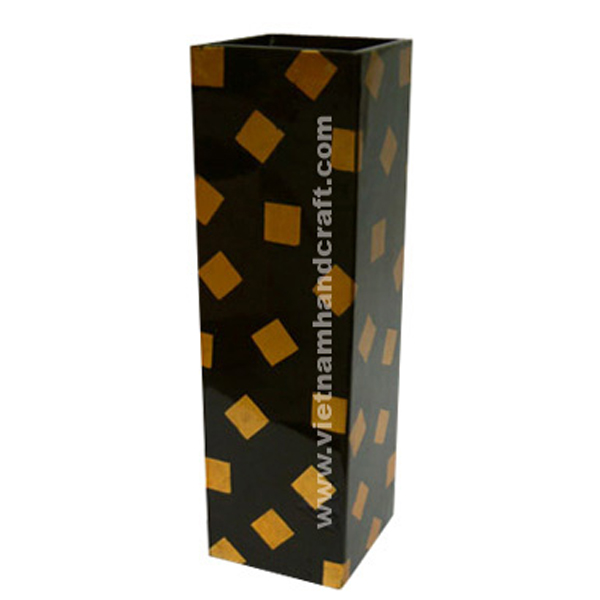 Black lacquered wooden vase with gold silver squares