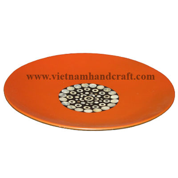 Orange & black lacquered decor plate with mother of pearl inlay