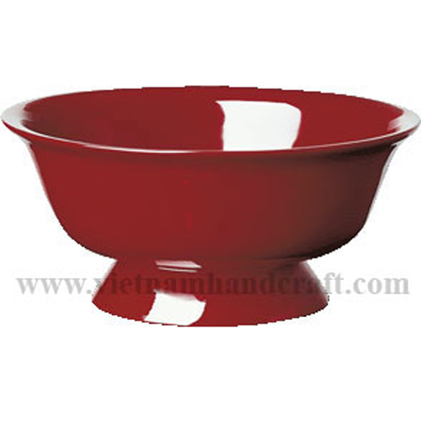 Lacquered fruit bowl in solid red all over