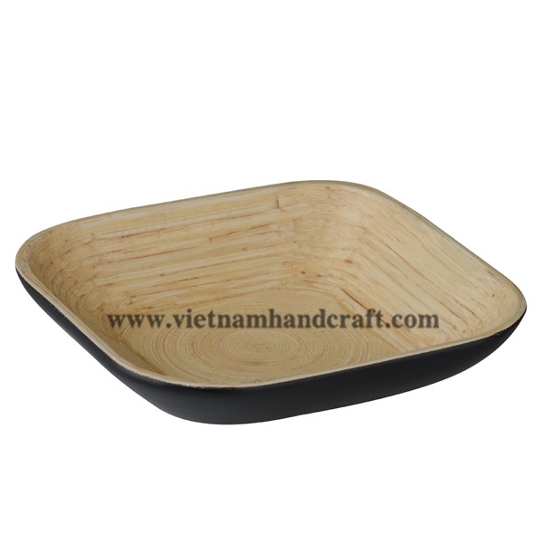 Lacquered bamboo food bowl. Inside in natural bamboo, outside in black