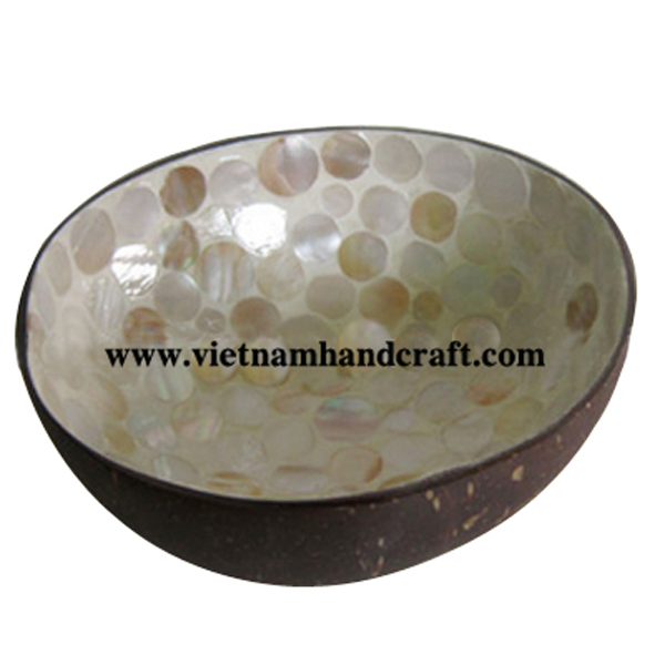 Lacquer coconut bowl. Inside inlaid with mother of pearl, outside in natural coconut shell