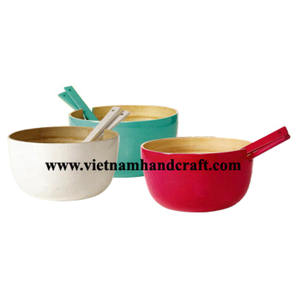 Lacquered bamboo salad bowls with salad server set. Inside in natural bamboo, outside in various colors