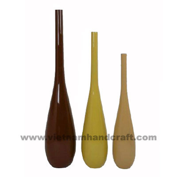 Set of 3 lacquered decor vases in 3 different solid colors