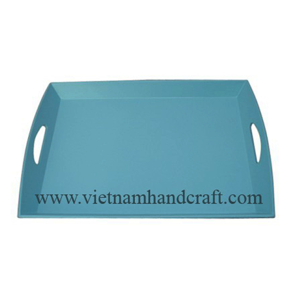 Lacquered wood food tray in solid blue