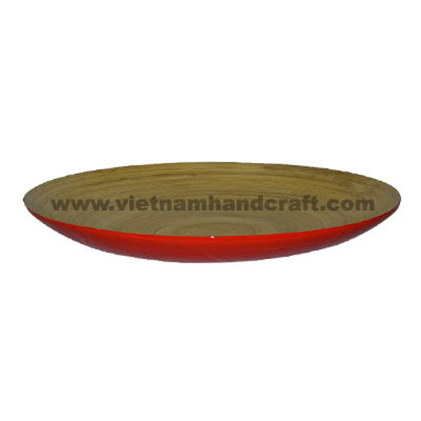 Lacquer bamboo food dish. Inside in natural bamboo, outside in red