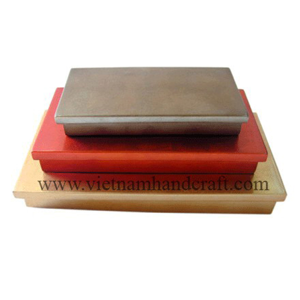 Set of 3 lacquered wood cookie boxes in gold, red & bronze silver