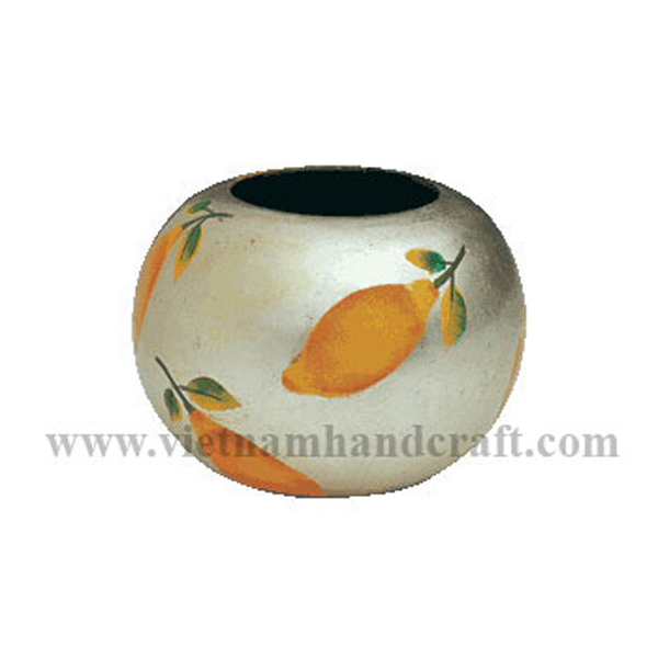 White silver leaf lacquered vase with hand-painted lemons