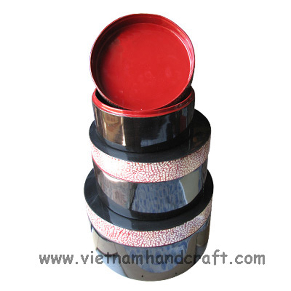 Set of 3 red & black lacquered storage boxes inlaid with eggshell