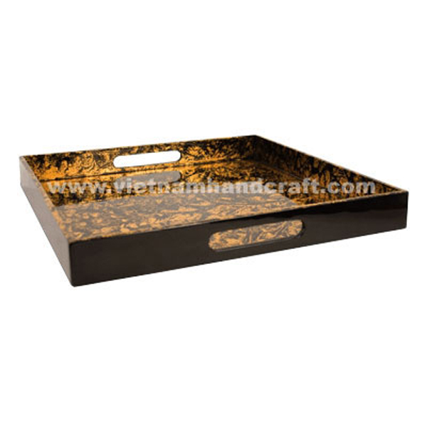 Lacquer decor tray. Inside in gold silver leaf on black background, outside in black