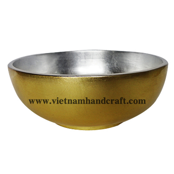 Lacquer decorative bowl. Inside in white silver leaf, outside in gold silver leaf