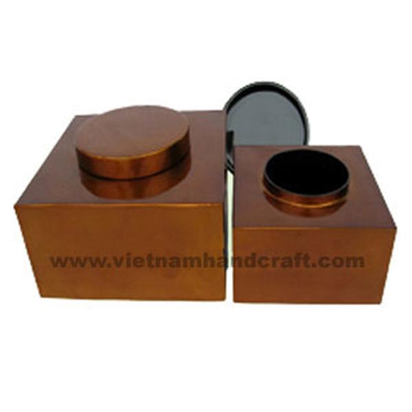 Lacquer wooden tea jars. Inside in black,  outside in silver metallic bronze