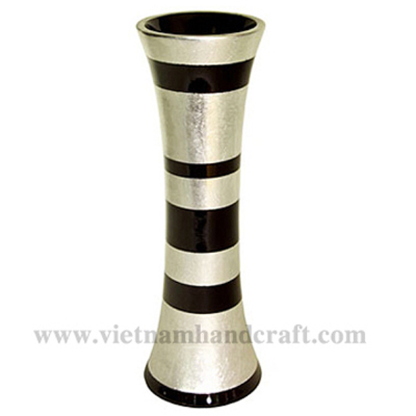 Lacquered vase with silver leaf & black stripes