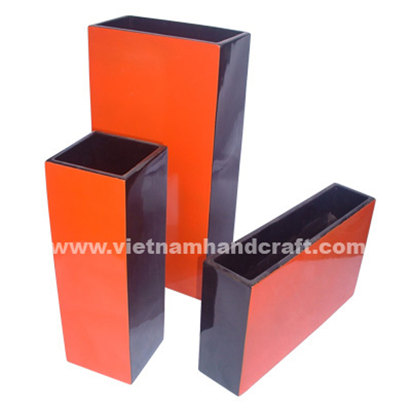 Wooden lacquerware vases in solid orange & black
