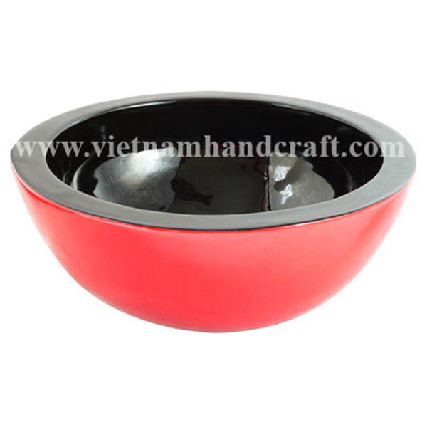 Lacquered wooden decor bowl in black & solid red