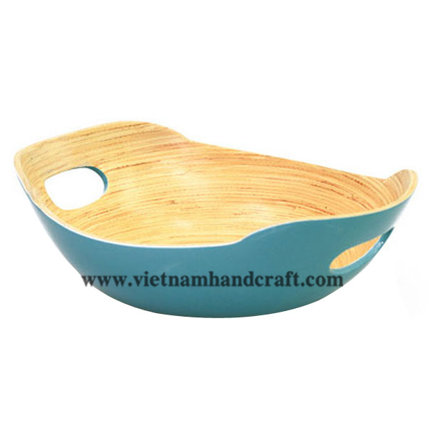 Bamboo lacquer food bowl. Inside in natural bamboo, outside in blue