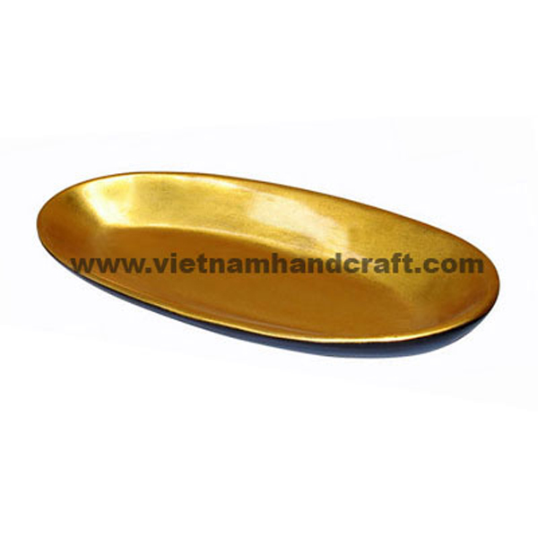 Lacquer bamboo bowl. Inside in gold leaf, outside in black