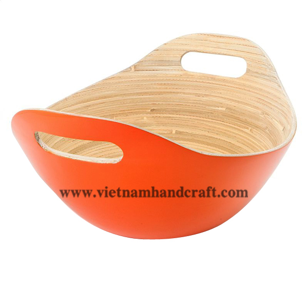 Lacquered bamboo serving bowl. Inside in natural bamboo, outside in orange
