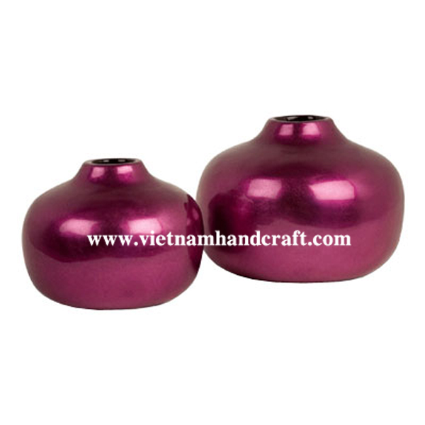 Lacquered bamboo decorative vase in purple silver