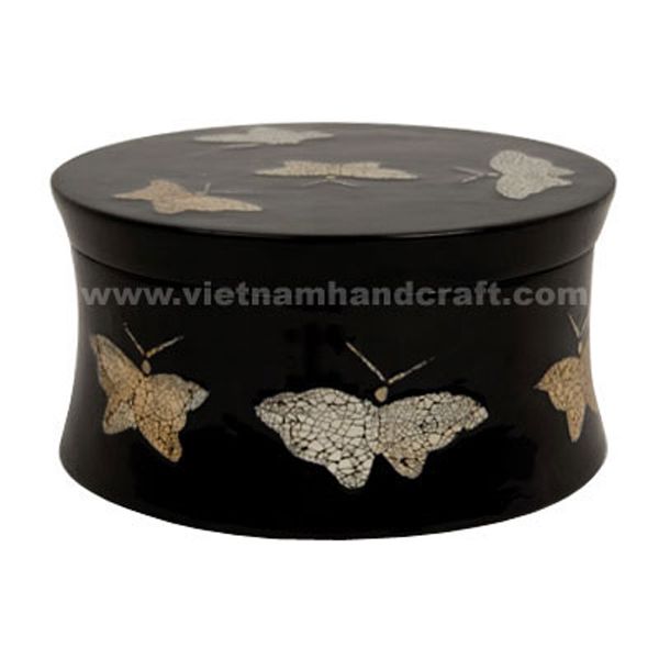 Black lacquered wood decor box with egg shell butterflies