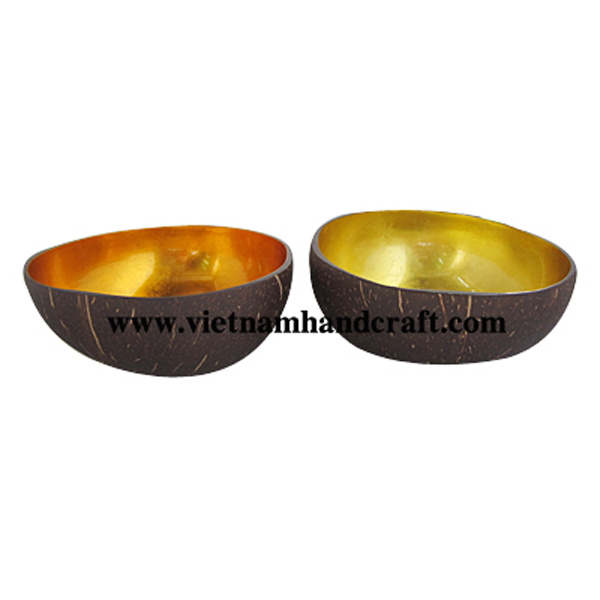 Lacquered coconut bowl. Inside in gold leaf, outside in natural coconut shell