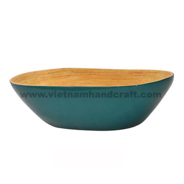Lacquered bamboo food bowl. Inside in natural bamboo, outside in solid blue