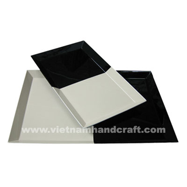 Black & white lacquered wood cosmetics tray