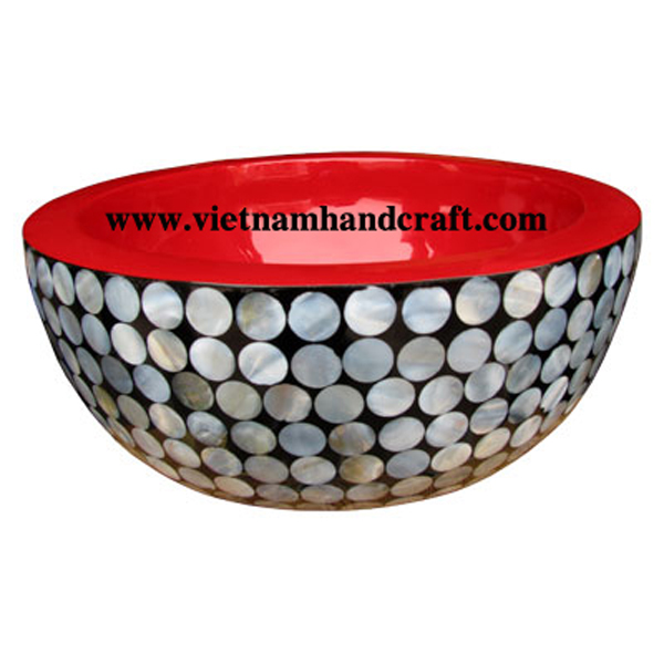 black & red lacquered wooden decorative bowl with mother of pearl inlay