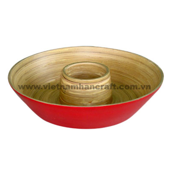 Lacquered bamboo dip & chip tray. Inside in  natural bamboo, outside in red
