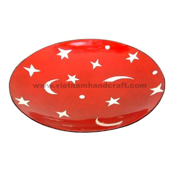 Red lacquered wood decor plate with hand-painted white stars and moons