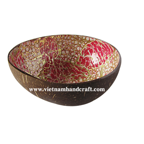 Coconut lacquer bowl. Inside with eggshell inlay, outside in natural coconut shell