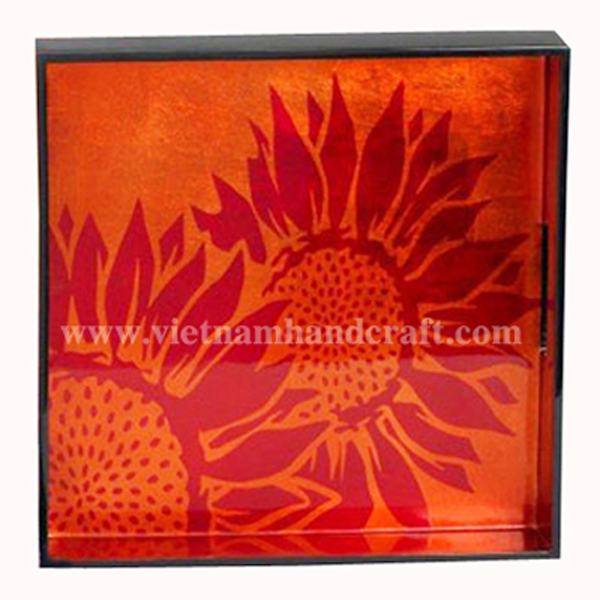 Lacquered decoration tray. Inside in orange silver and with hand-painted red silver sunflower. Outside in black