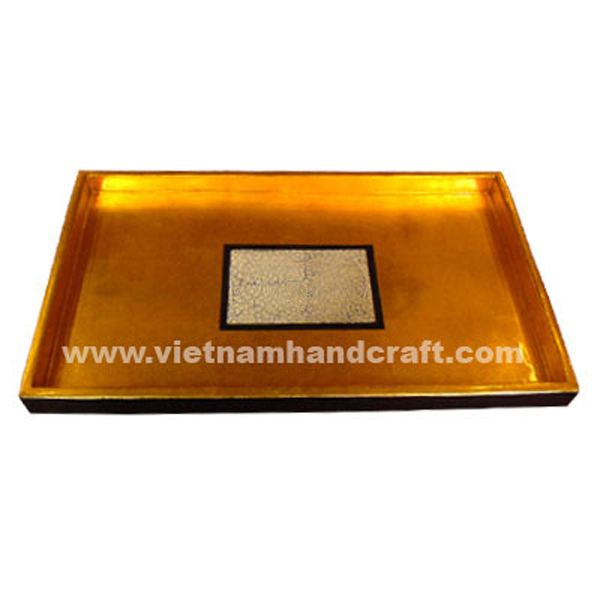 Black & gold leaf lacquerware tray with eggshell inlay