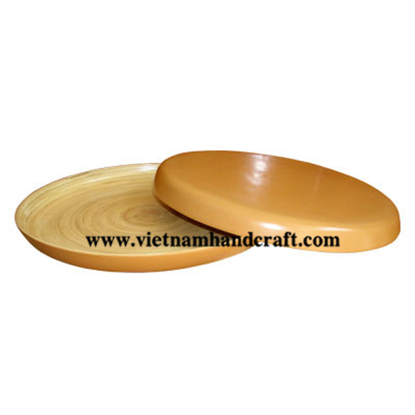 Lacquered bamboo serving tray. Inside in natural  bamboo, outside in brown