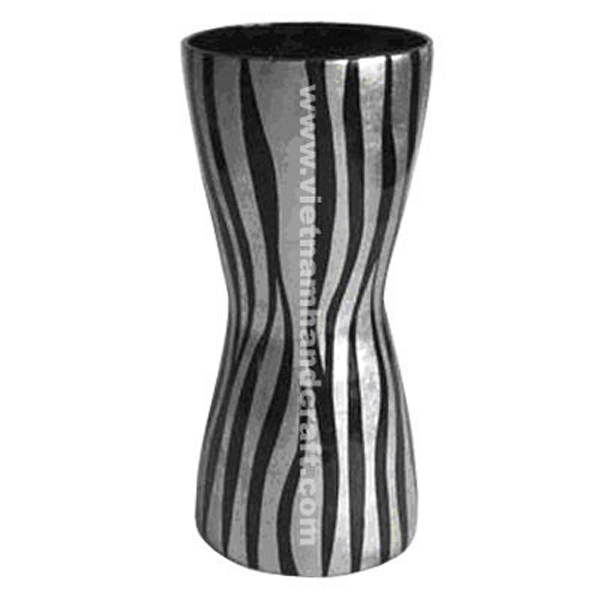 Lacquered vase with black & white silver leaf stripes