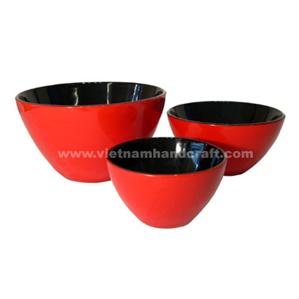 Black & red lacquer serving bowl