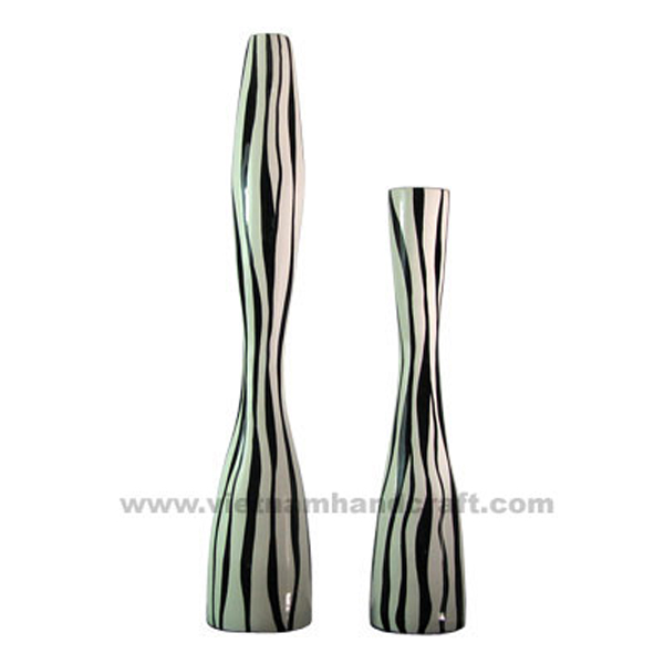Black lacquered bamboo decor floor vase with solid white stripes