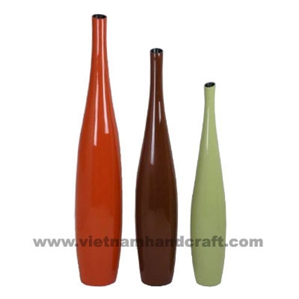 Set of 3 lacquer decor vases in 3 different solid colors