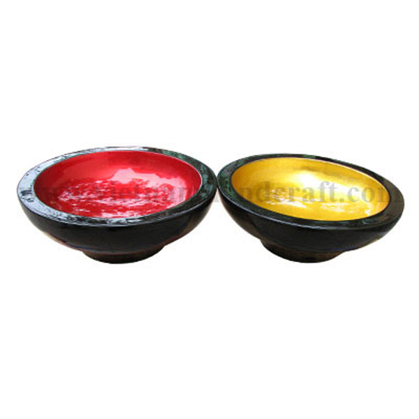 Lacquer wood decor bowls. Inside in silver metallic red & gold leaf, outside in black