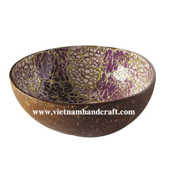 Lacquer coconut bowl. Inside with eggshell inlay, outside in natural coconut shell
