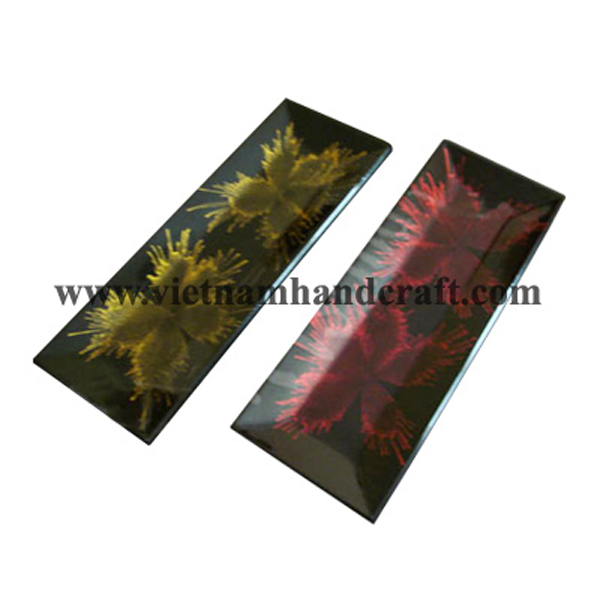 Black lacquerware fruit tray with hand-painted pink & gold fireworks