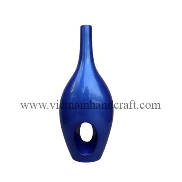 Lacquer ceramic decor vase in silver metallic blue