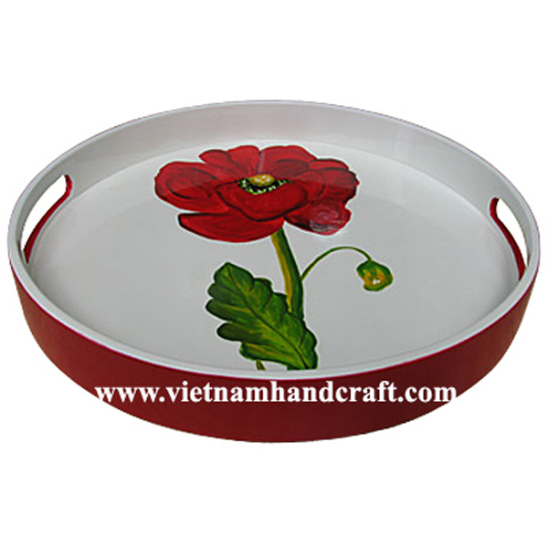 Red & white lacquered wood cocktail tray with hand-painted flower