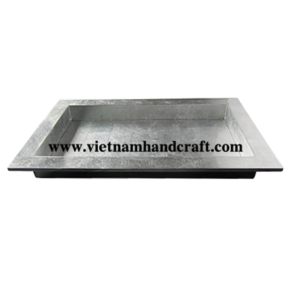 Wooden lacquerware food tray. Inside in white silver leaf, outside in black