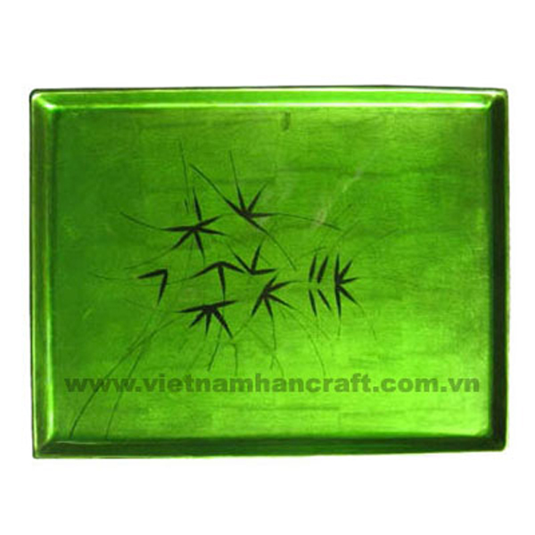 Silver metallic green tray with hand-painted black artworks