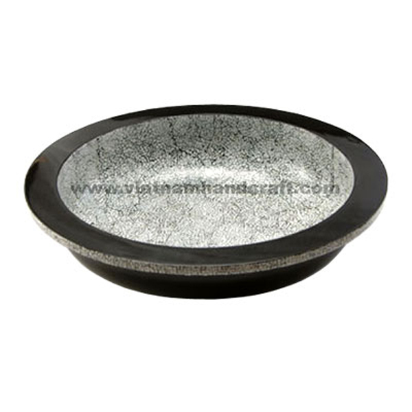 Black lacquer decor bowl with white eggshell inlay