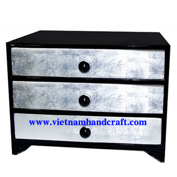 Lacquer wooden 3 drawer bedside chest in black & white silver leaf