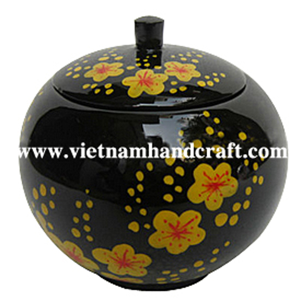 Black lacquered wooden sweet jar with hand-painted apricot flowers