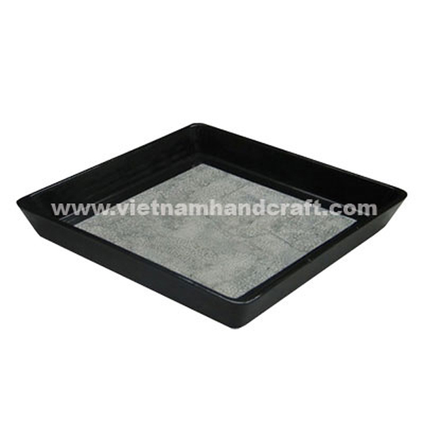 Black lacquer wooden bathroom tray inlaid with eggshell